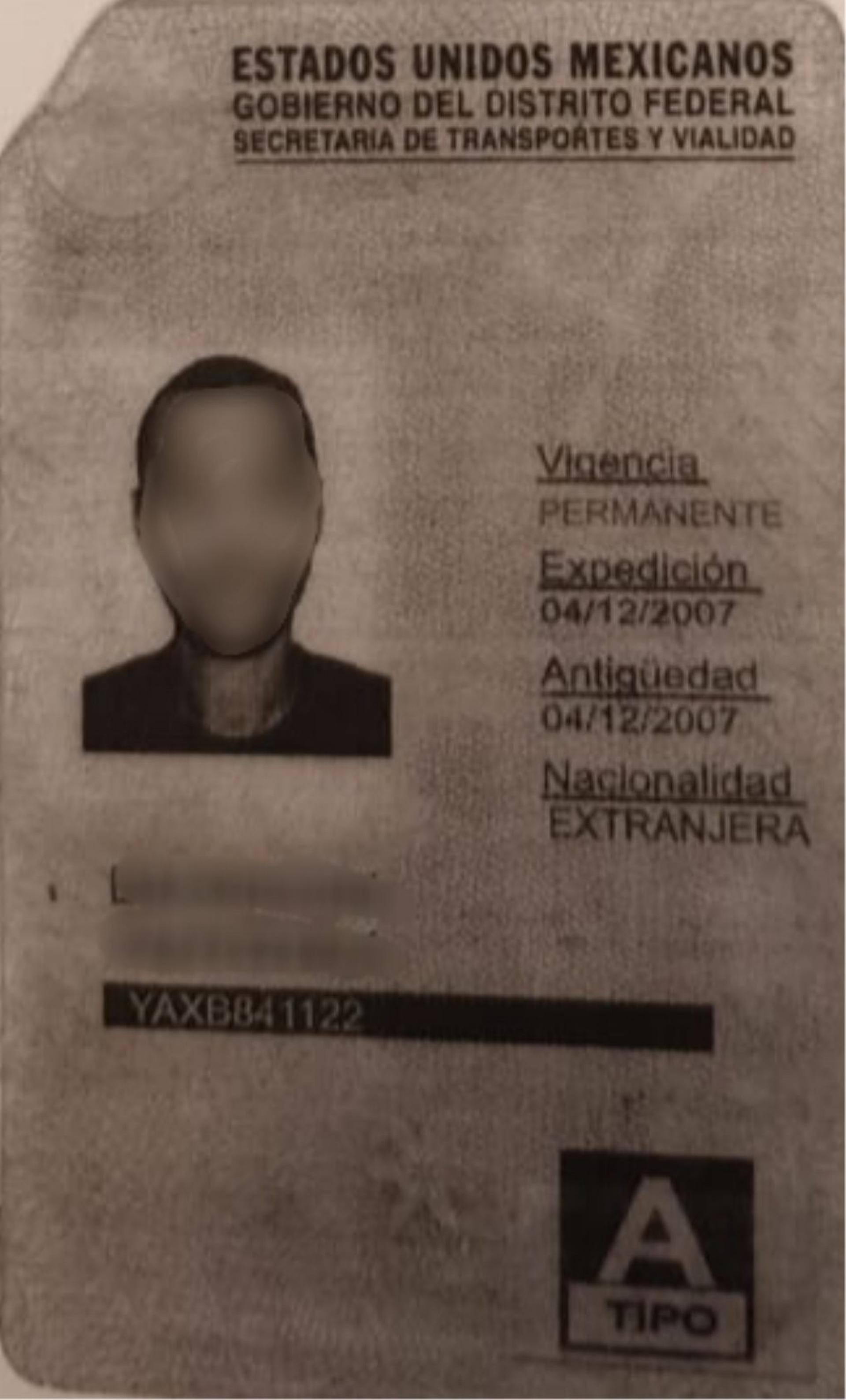 רשיון הנהיגה המקסיקני שהוצג לשוטרים. צילום באדיבות משטרת ישראל